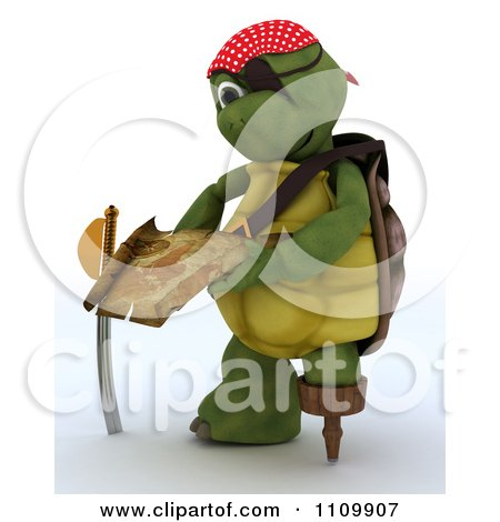 Clipart 3d Tortoise Pirate Reading A Treasure Map - Royalty Free CGI Illustration by KJ Pargeter