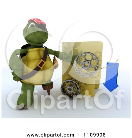 Clipart 3d Illegal Movie Download Pirate Tortoise With A Folder And Film Reels - Royalty Free CGI Illustration by KJ Pargeter
