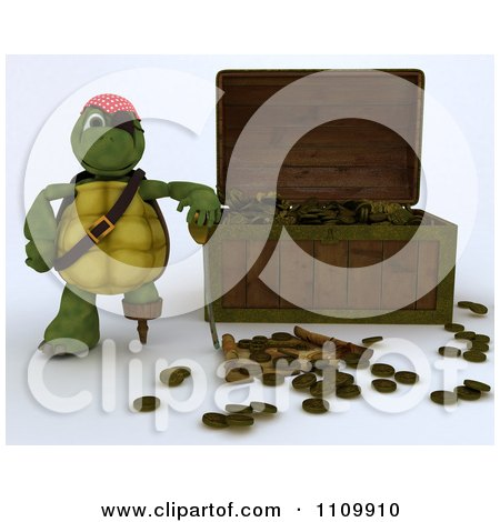 Clipart 3d Tortoise Pirate Leaning On A Treasure Chest With Coins And A Map - Royalty Free CGI Illustration by KJ Pargeter
