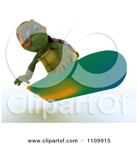 Clipart 3d Tortoise Snowboarding - Royalty Free CGI Illustration by KJ Pargeter