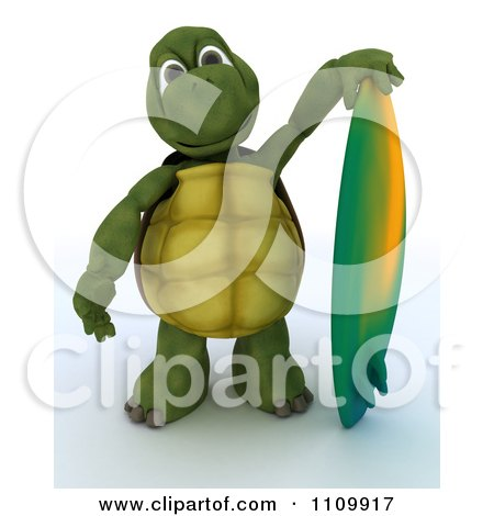 Clipart 3d Tortoise Standing With A Surfboard - Royalty Free CGI Illustration by KJ Pargeter