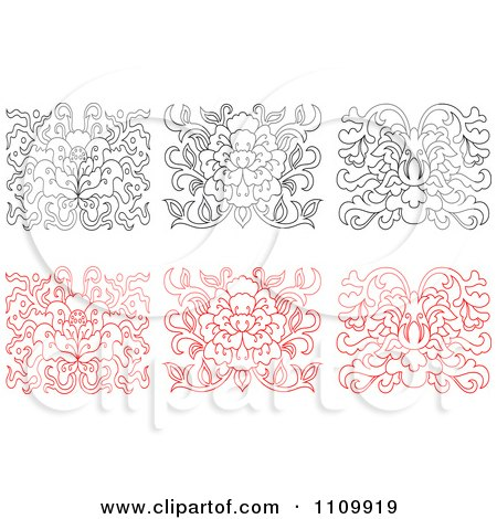 Clipart Black And White And Red Oriental Floral Design Elements - Royalty Free Vector Illustration by Vector Tradition SM