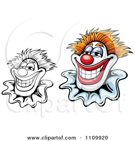 Clipart Black And White And Colored Happy Smiling Clowns - Royalty Free Vector Illustration by Vector Tradition SM