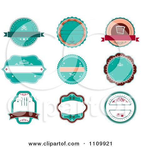 Clipart Retro Turquoise Restaurant Labels - Royalty Free Vector Illustration by Vector Tradition SM
