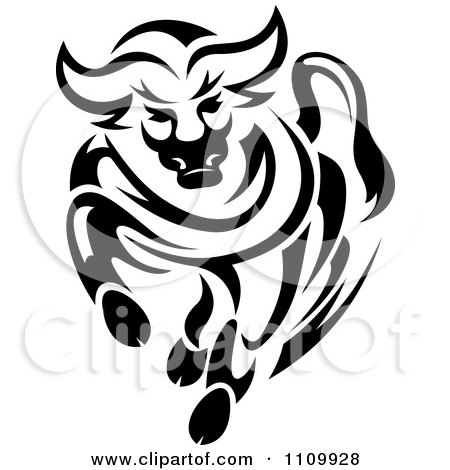 Clipart Black And White Charging Angry Bull - Royalty Free Vector Illustration by Vector Tradition SM