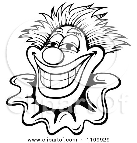Clipart Black And White Happy Smiling Clown - Royalty Free Vector Illustration by Vector Tradition SM