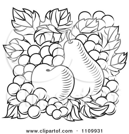 Clipart Black And White Apple Pear And Grapes - Royalty Free Vector Illustration by Vector Tradition SM