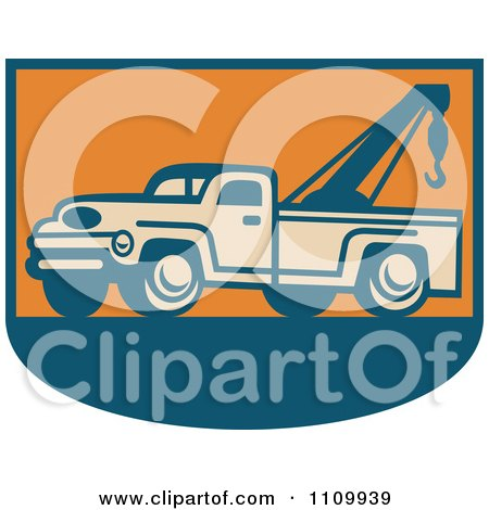 Clipart Retro Tow Truck On Orange And Blue - Royalty Free Vector Illustration by patrimonio
