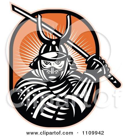 Clipart Retro Samurai Warrior With A Katana Sword On Orange - Royalty Free Vector Illustration by patrimonio