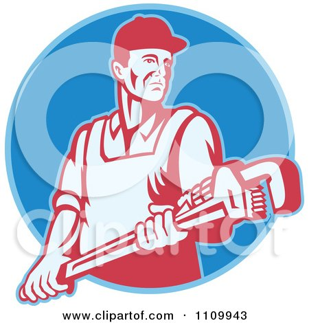 Clipart Retro Plumber Holding A Large Adjustable Monkey Wrench On A Blue Circle - Royalty Free Vector Illustration by patrimonio