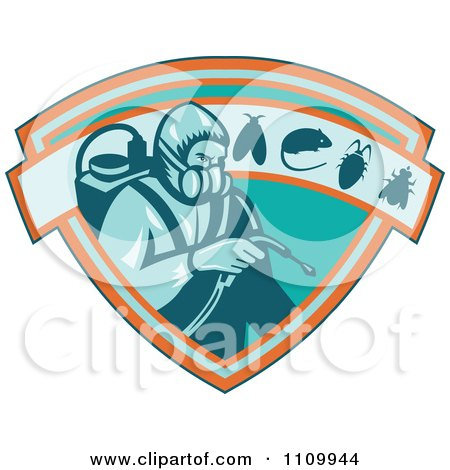 Clipart Retro Exterminator Pest Control Worker Using Spray On A Shield With A Rat Mouse Fly And Cockroach - Royalty Free Vector Illustration by patrimonio