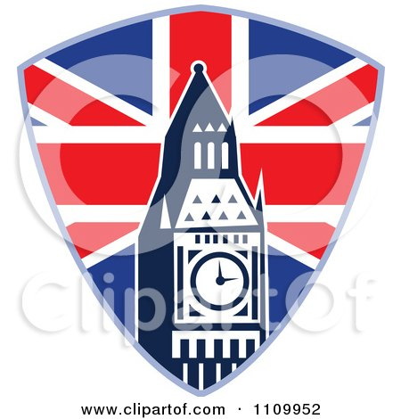 Clipart Retro British Union Jack Shield And Big Ben Clock Tower - Royalty Free Vector Illustration by patrimonio