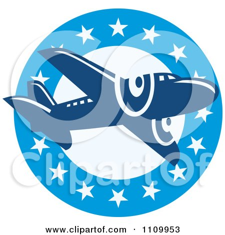 Clipart Retro Blue Airplane Over A Circle Of Stars - Royalty Free Vector Illustration by patrimonio