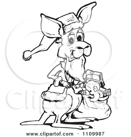 Clipart Black And White Kangaroo Santa With A Sack - Royalty Free Vector Illustration by Dennis Holmes Designs