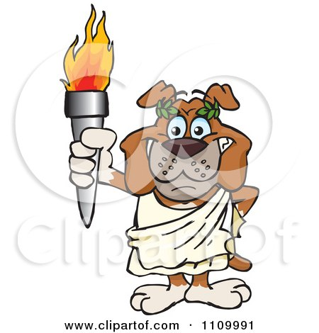 Clipart Olympic Games Bulldog Holding A Torch - Royalty Free Vector Illustration by Dennis Holmes Designs