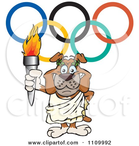 Clipart Olympic Games Bulldog Holding A Torch - Royalty Free ...