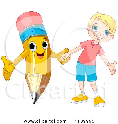 Clipart Happy School Boy Holding Hands With A Pencil - Royalty Free Vector Illustration by Pushkin