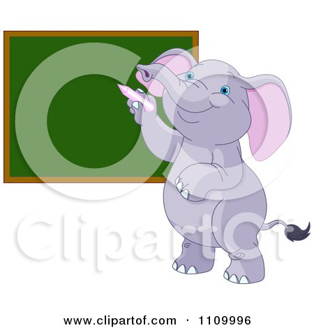 Clipart Cute Student Elephant Writing On A School Chalk Board - Royalty Free Vector Illustration by Pushkin
