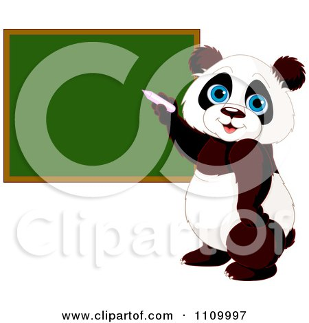 Clipart Cute Student Panda Writing On A School Chalk Board - Royalty Free Vector Illustration by Pushkin