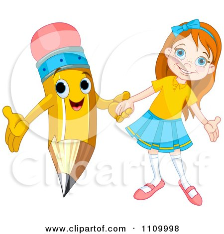 Clipart Happy School Girl Holding Hands With A Pencil - Royalty Free Vector Illustration by Pushkin