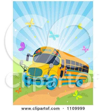 Schoool Bus Driving Down A Path With Colorful Butterflies And Sunshine Posters, Art Prints