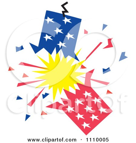 Clipart Patriotic American Fourth Of July Firecracker - Royalty Free Vector Illustration by Johnny Sajem