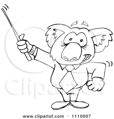 Clipart Black And White Aussie Koala Teacher Using A Pointer - Royalty Free Vector Illustration by Dennis Holmes Designs