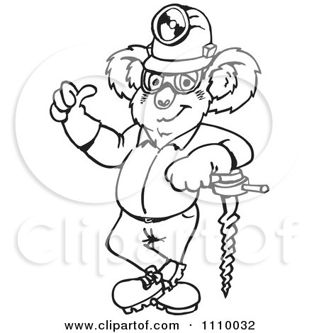 Clipart Black And White Aussie Koala Miner Worker Holding A Thumb Up - Royalty Free Vector Illustration by Dennis Holmes Designs