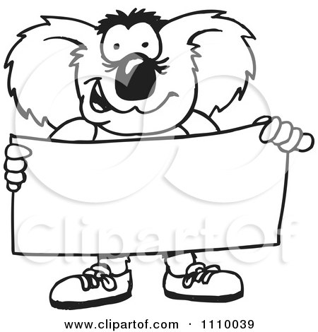 Clipart Black And White Aussie Koala Holding A Sign - Royalty Free Vector Illustration by Dennis Holmes Designs
