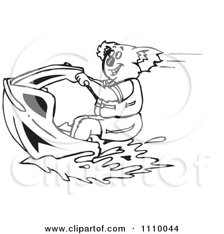 Clipart Black And White Aussie Koala On A Jetski - Royalty Free Vector Illustration by Dennis Holmes Designs