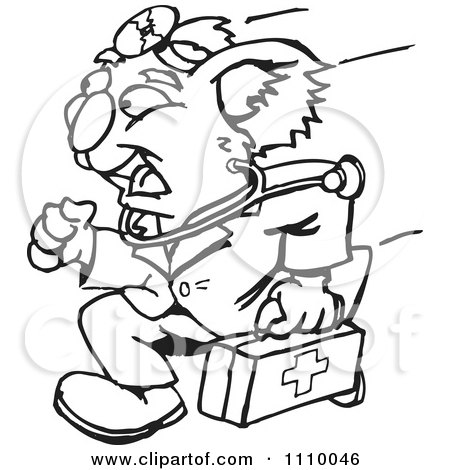 Clipart Black And White Aussie Koala Doctor Running - Royalty Free Vector Illustration by Dennis Holmes Designs