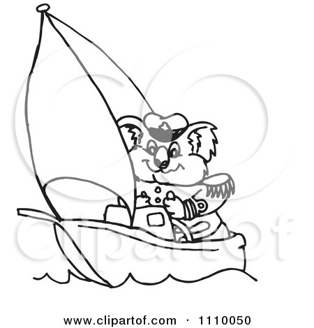 Clipart Black And White Aussie Koala Captain Sailing - Royalty Free Vector Illustration by Dennis Holmes Designs