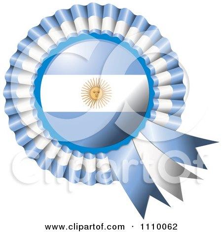 Clipart Shiny Argentina Flag Rosette Bowknots Medal Award - Royalty Free Vector Illustration by MilsiArt