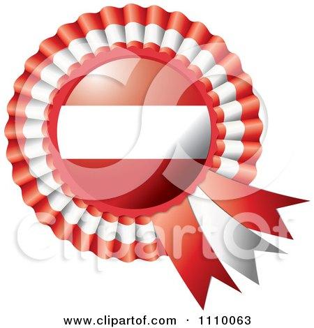 Clipart Shiny Austrian Flag Rosette Bowknots Medal Award - Royalty Free Vector Illustration by MilsiArt
