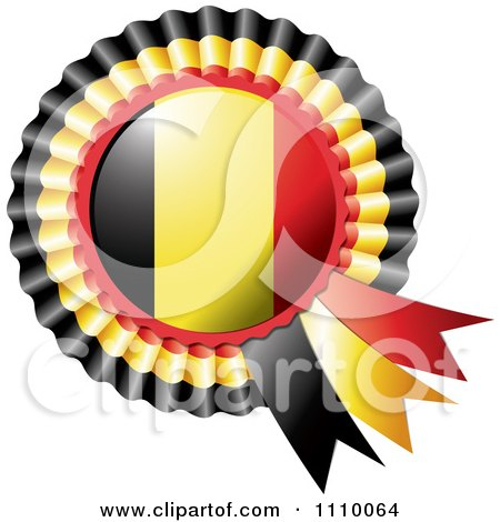 Clipart Shiny Belgium Flag Rosette Bowknots Medal Award - Royalty Free Vector Illustration by MilsiArt