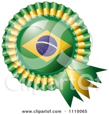 Clipart Shiny Brazilian Flag Rosette Bowknots Medal Award - Royalty Free Vector Illustration by MilsiArt