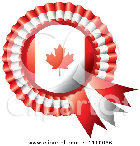 Clipart Shiny Canadian Flag Rosette Bowknots Medal Award - Royalty Free Vector Illustration by MilsiArt