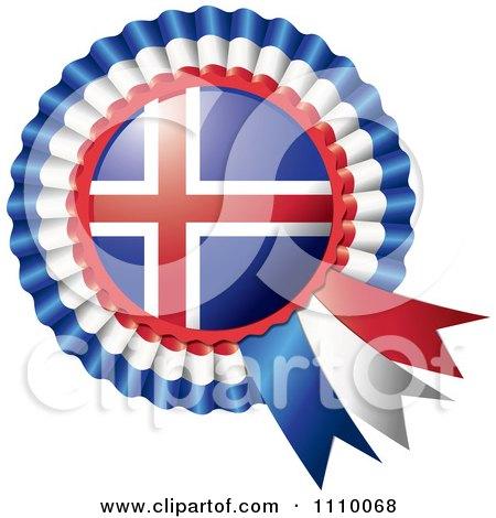 Clipart Shiny Iceland Flag Rosette Bowknots Medal Award - Royalty Free Vector Illustration by MilsiArt