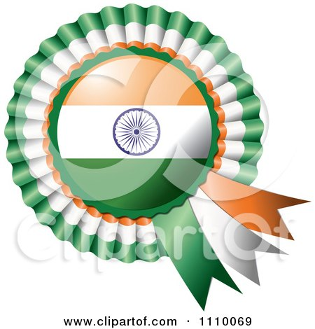 Clipart Shiny Indian Flag Rosette Bowknots Medal Award - Royalty Free Vector Illustration by MilsiArt