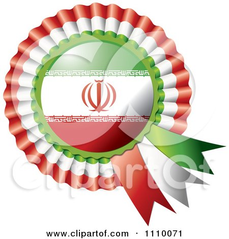 Clipart Shiny Iranian Flag Rosette Bowknots Medal Award - Royalty Free Vector Illustration by MilsiArt