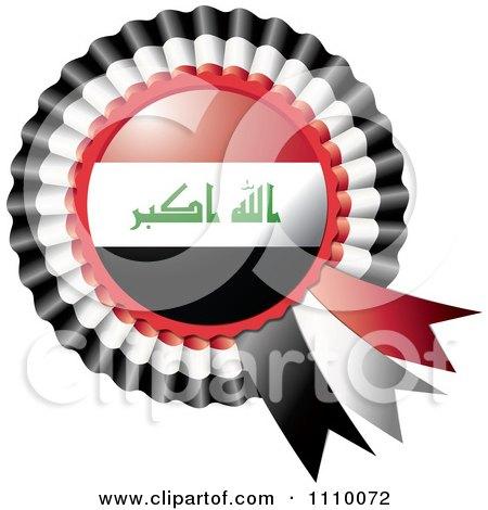 Clipart Shiny Iraq Flag Rosette Bowknots Medal Award - Royalty Free Vector Illustration by MilsiArt