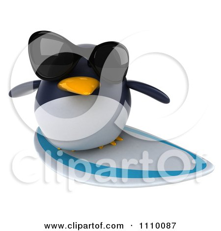 Clipart 3d Penguin Wearing Sunglasses And Surfing 2 - Royalty Free CGI Illustration by Julos