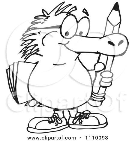 Clipart Black And White Aussie Echidna Holding A Pencil And Folder - Royalty Free Vector Illustration by Dennis Holmes Designs