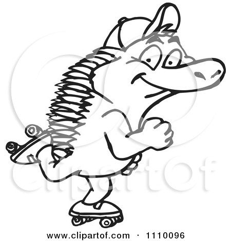 Clipart Black And White Aussie Echidna Roller Skating - Royalty Free Vector Illustration by Dennis Holmes Designs