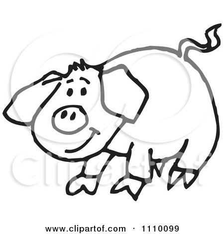Clipart Black And White Pig - Royalty Free Vector ...