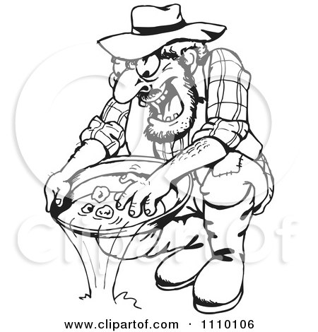 Clipart Black And White Man Panning For Gold - Royalty Free Vector Illustration by Dennis Holmes Designs