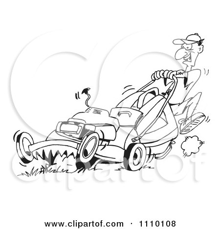 Clipart Black And White Man Pushin Ga Lawn Mower 1 - Royalty Free Vector Illustration by Dennis Holmes Designs