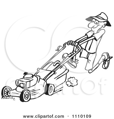Clipart Black And White Man Pushin Ga Lawn Mower 2 - Royalty Free Vector Illustration by Dennis Holmes Designs