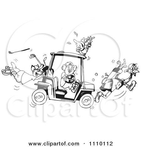 Clipart Black And White Aussie Koala Cockatoo Kangaroo And Emu With A Broken Golf Cart - Royalty Free Illustration by Dennis Holmes Designs
