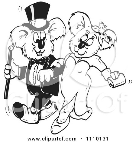Clipart Black And White Formal Aussie Koala Couple - Royalty Free Illustration by Dennis Holmes Designs